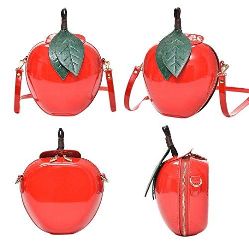 Malloom Frauen Mode Apple Handtasche Zipper Bag Schultertasche Tote Damen Messenger Bag (rosa)