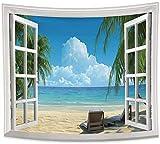 DINGQING Tapiz de Playa Palmeras en Ocean Heaven Tumbonas Balcón Ventanas de Madera Blanca Verano Turismo Viajes Tropical Colgante de Pared 150 cm x 200 cm