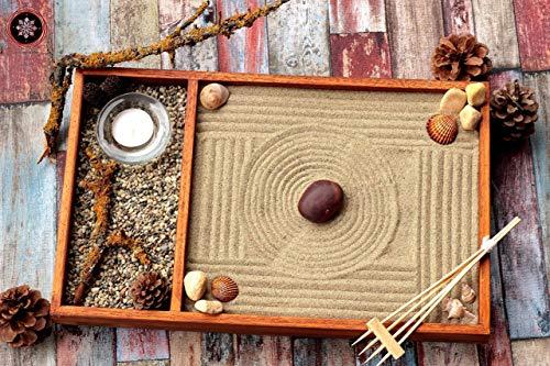 Zen garten Miniatur Ganz Aus Holz für Dekoration.Set Zubehör Sand Harke Muscheln ॐ Zensimongardens®
