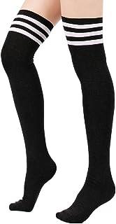 Calcetines hasta la Rodilla de Tubo Largo de Fútbol Béisbol Deporte para Mujer(Estilo de Triple Raya,Negro)