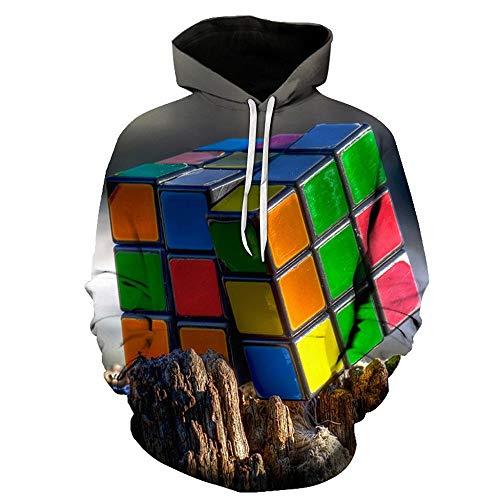 Sudadera Casual Estampada en 3D para Hombre Sudaderas con Capucha de Jersey con Estampado de Cubo de Rubik Pullover de Manga Larga de Sweatshirt con Bolsillo Gris 282