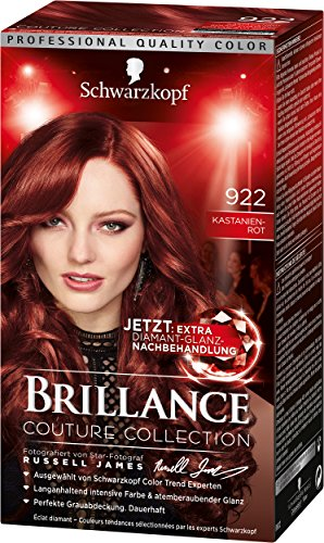 Schwarzkopf Brillance Intensiv-Color-Creme, 922 Kastanienrot Stufe 3, 3er Pack (3 x 143 ml)