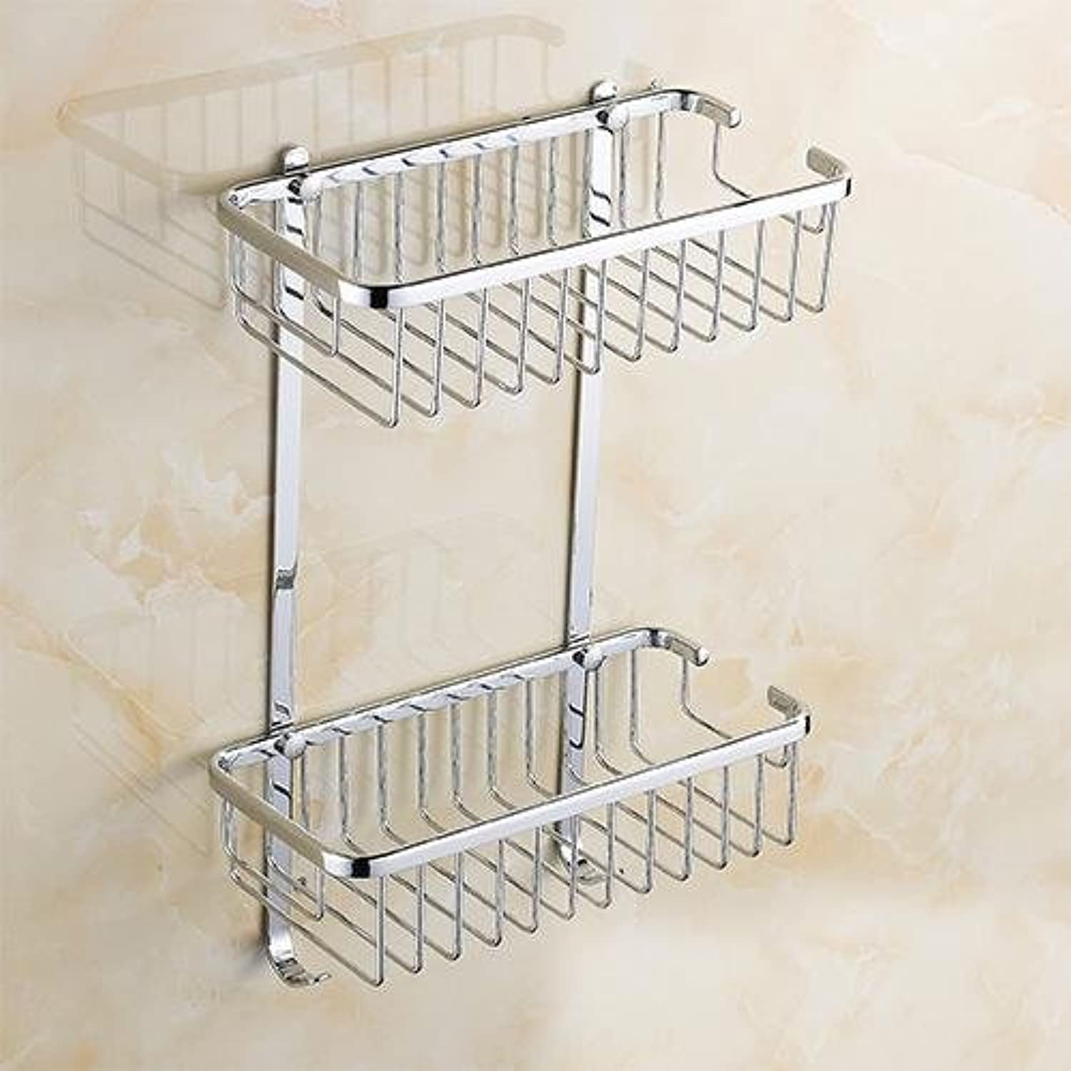 XAH@ Bathroom accessories copper plated double layer glass baskets bathroom rack