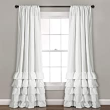 """Lush Decor, White Allison Ruffle Curtains Window Panel Set for Living, Dining Room, Bedroom (Pair), 95"""" x 40"""", 95"""" L"""