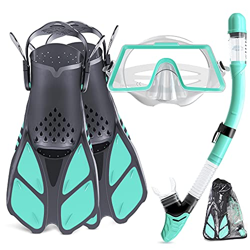 Tongtai Snorkeling Gear for Adults with Fins Mask Snorkel:Dry Top Snorkles Adults Set | Panoramic View Diving Mask&Snorkel Set | Adult Snorkel Mask for Women Men for Swimming