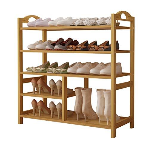 Rack de Zapatos de bambú de 5 Capas Actualizado en el gabinete de Almacenamiento de tacón Alto para el Pastor para el Soporte de Flores multifunción de la Sala de Estar del Corredor, Color de Madera,