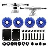 VJ 5.0 Skateboard Trucks (Silver), Skateboard Wheels 52mm, Skateboard Bearings, Skateboard Pads, Skateboard Hardware 1' (52mm Blue)