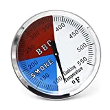 Hongso 3 1/8 Inch Barbecue Charcoal Grill Smoker Temperature Gauge Pit BBQ Thermometer Fahrenheit and Heat Indicator for Pit Boss,Meat Cooking Port Lamb Beef, Stainless Steel Temp Gauge 3-550