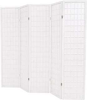 yorten 5 Paneles Biombo Plegable Estilo Japonés para Habitación Sala de Estar u Oficina 200x170 cm Estructura de Madera Blanco