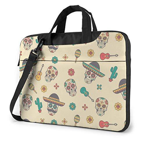 Day of The Dead Skull Cowboy Hat Cactus Guitar 15.6 in Laptop Bag Computer Protective Cover Handbag Shoulder Bag