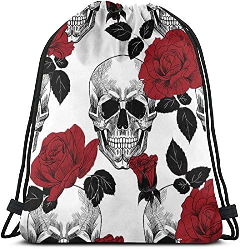 Sugar Roes Flowers Skull Skeleton Drawstring Backpack Bag Women & Men Sport Gym Sack Cinch Bag for Shopping Hiking Travel Beach