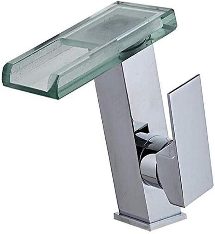 Waschtischarmatur Für Bad Messing European Single Hole Single Griff Licht Glas Heien Und Kalten Wasserhahn Silber Wasserfall Temperaturregelung Led Wasserhahn Waschbecken Wasserhhne
