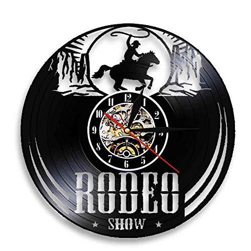 GVC Reloj de Pared Freedom Rider Rodeo Show Cowboy Wild Rodeo Life Vinyl Record Reloj de Pared Reloj de equitación Ecuestre Occidental Vintage Reloj