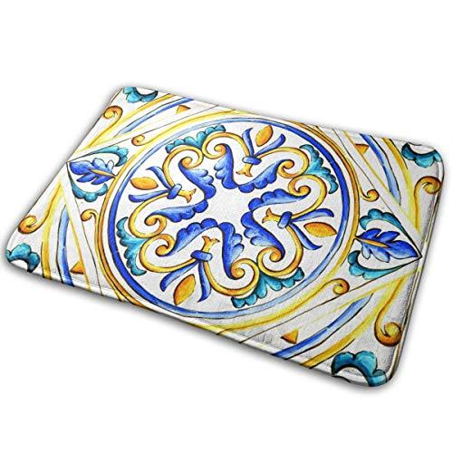Elsaone Italienische Majolika-Fliesen Floral Vintage Welcome Fußmatte Teppich für Küche Bad Outdoor Veranda Waschküche Wohnzimmer Matte 60 x 40 cm