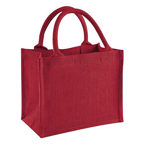 Westford Mill Jute-Tasche/Jute-Mini-Geschenktasche, 6 Liter (Einheitsgröße) (Rot/Rot)
