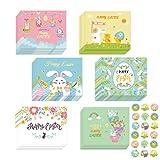 Set di 12 cartoline di Pasqua con 12 buste e 18 adesivi pasquali, per Pasqua, Pasqua, coniglio e fiori, in carta da imballaggio colorato, regalo di Pasqua