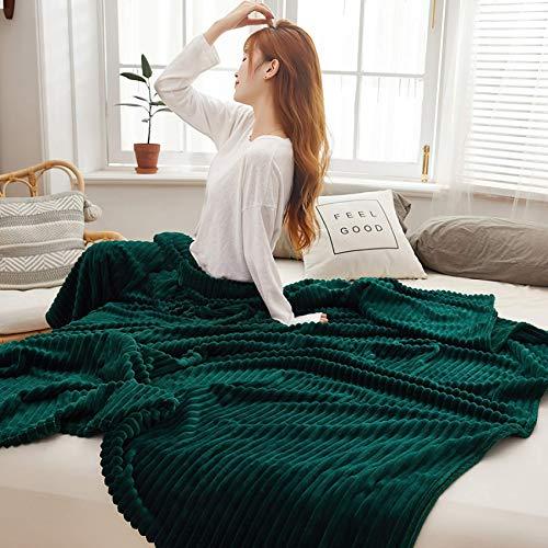 HETOOSHI Korallenvlies Decke,Flanell-Fleecedecke TV-Decken / Sofadecke / Wohnzimmerdecke / Mikrofaser-Couchdecke,weiche & warme Berührung,Leicht zu pflegen , Gemütlich(Vintage grün,150cm × 200cm)