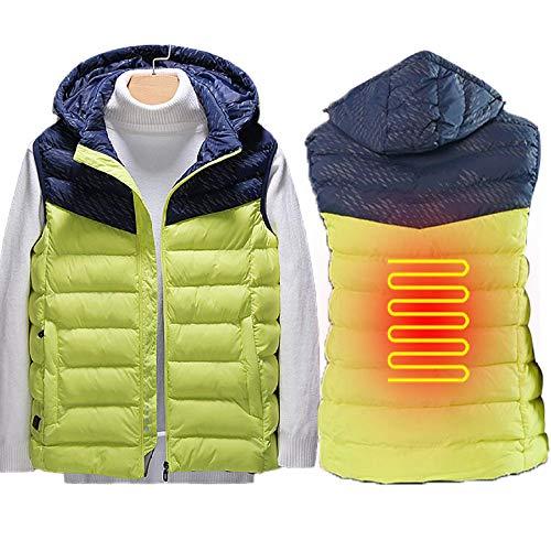QJKai Amarillo USB Chaleco de Trabajo para Hombres/Mujeres,Lavable LigeroUSB Chaquetas Termicas con 1 Zonas de Calefacción y 3 Velocidades Ajustables,XXL Cazadora Calefaccion para Exterior Unisex