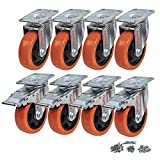 CoolYeah 4 inch Swivel Plate PVC Caster Wheels, Industrial, Premium Heavy Duty Casters (Pack of 8, 4 with Brake & 4 Without)…