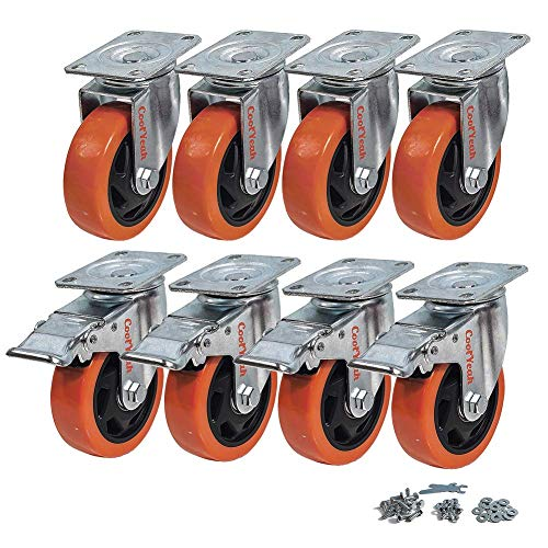 CoolYeah 100mm Swivel Plate Caster PVC Wheels, Industrial, Premium Heavy Duty Casters (Pack of 8, 4 with Brake & 4 Without) …