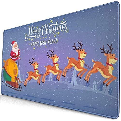 Leuke Cartoon Claus Riding Rendier Slee Vrolijke Kerstmis Muis Pad Mousepad Muis Mat Antislip Rubber Duurzaam