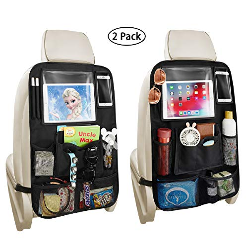 "Backseat Car Organizer with 10"" iPad Tablet Holder + 11 Storage Pockets for Toys Book Bottle Drink, Auto Seat Back Protector Kick Mats, Travel Accessories for Kids 2 Pack Black"
