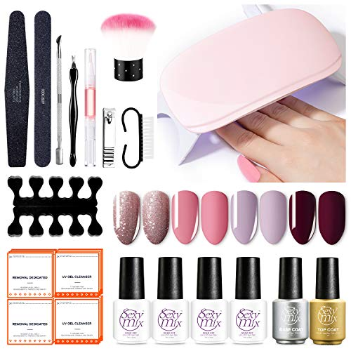 Gel Nail Polish Kit with 6W LED Nail Light, Home Gel Nail Polish Kit Manicure Tools 4 Pink Colors Gel Nail Polish 7ML Base and Top Coat, Portable Kit for Travel