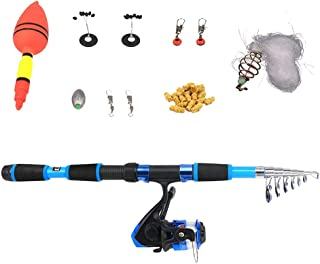 Perfeclan Fishing Kit Telescopic Fishing Rod and Reel Combos Hook Tackle Kit Fishing Tackle Bait