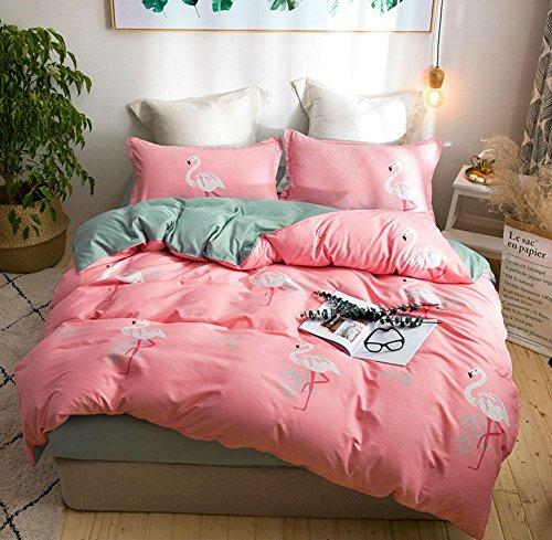 Stillshine Flamant Jungle Fleur Housse de Couette Parure de lit,Élégant Classique Lit Couvre de Lit Housse de Couette taies d'oreiller Imprimé Petits Flamant 4 Pièces (Rosa Flamingo, 220_x_240_cm)