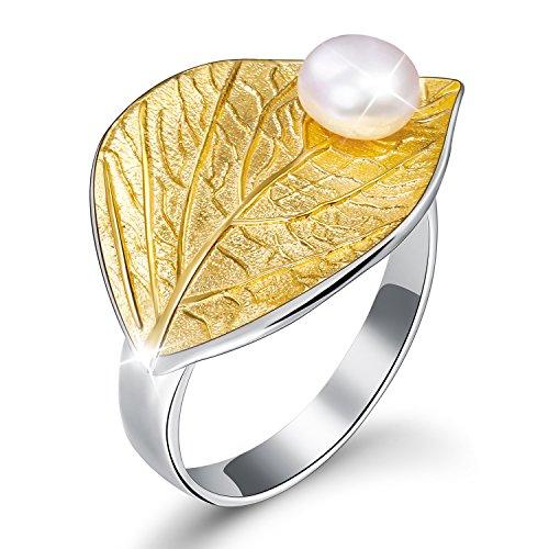 Regalo para Navidad JIANGYUYAN S925 Anillos de plata esterlina Anillo abierto de hoja de otoño con regalo de perlas de agua dulce natural para mujeres y niñas(Gold)