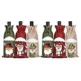 Vaorwne Bolsa de Botella de Vino Tinto con CordóN de Navidad de Papá Noel para la Cena Familiar DecoracióN de la Mesa DecoracióN de la Mesa