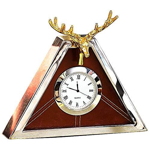 DAMAI STORE Modernes Unbedeutendes Wohnzimmer Im Europäischen Stil Hochwertiges Metall-Dreieck Kreative Uhr Tischuhr Pendel Sitzschalen Und Hirschstation