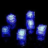 12 Stück LED leuchtende Eiswürfel, Ice Cube Light dekorativ, Flüssigkeitssensor, wiederverwendbares Dekorationslicht für Party, Hochzeit, Club und Bar (Blau)