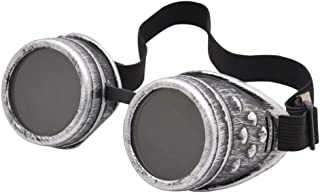 Fashion Glasses Welding Cyber Punk Gothic Cosplay Retro Vintage Victorian Steampunk Goggles Retro (Color : Ancient Silver, Size : Free Size)