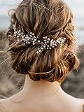 Handmadejewelrylady - Tocado con diseño de cristal para el pelo de novia o dama de honor