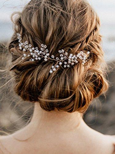Accessoire pour cheveux fabriqué à la main - Couronne de mariage avec cristaux et fausses branches de plante - Pour mariée ou demoiselle d'honneur