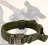 Tactical Dog Collar,Military Dog Collar Adjustable Nylon Dog Collar Heavy Duty Metal Buckle with Control Handle for Dog Training(M - Green)