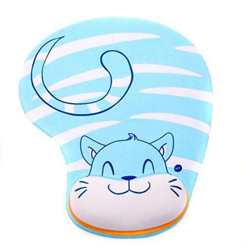 TUKA Handgelenkauflage Mouse pad Ergonomische, mit Gel Gefüllte Handgelenkunterlage, Tier Motiv Gel Mauspad Handauflage, mit Lustigem Cartoon Motiv, TKC5100 bluecat