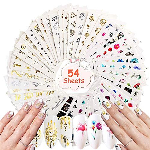 Nagelsticker Nagelaufkleber Selbstklebende Über 1000 Decals NOCHME 54 Blatt Wasser Transfers Gel Nailart Aufkleber Sticker Gold Silber Fingernägel Tattoos Nageldesign für Frauen Mädchen
