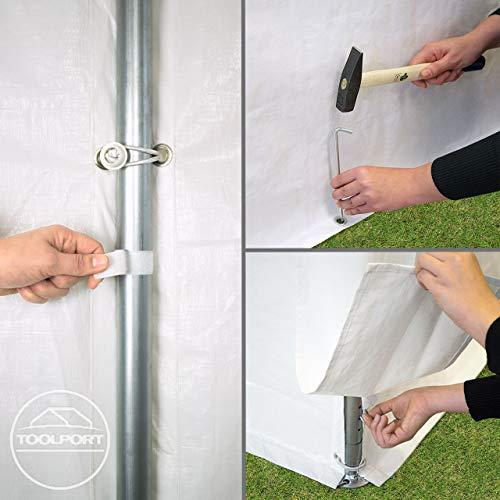 TOOLPORT Partyzelt Pavillon 4x8 m in weiß 180 g/m² PE Plane Wasserdicht UV Schutz Festzelt Gartenzelt - 2