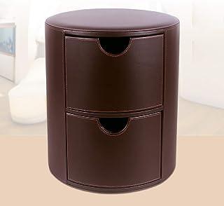 Stool Tabouret de Rangement Rond en Cuir avec 2 tiroirs, Banc à Chaussures de 39 cm de diamètre Table de Chevet, Tabouret ...