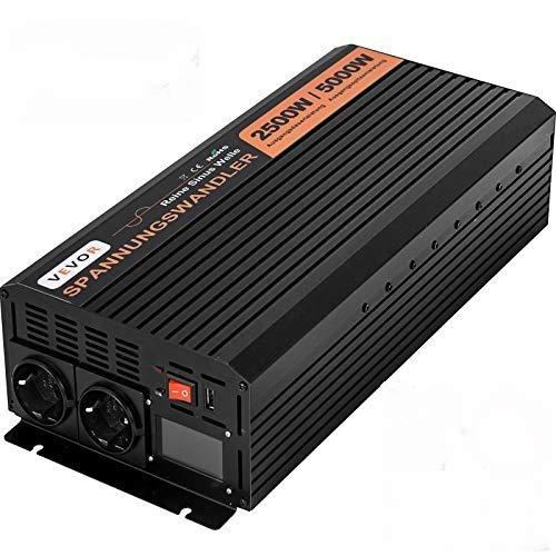 VEVOR 230V Reiner Sinus Wechselrichter Spannungswandler, 2500W Reiner Sinuswellen Wechselrichter, 24V DC Pure Sine Wave Power, Reiner Sinus Wechselrichter Spannungswandler
