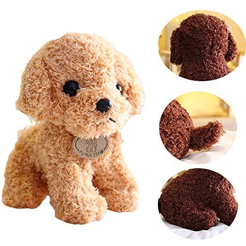 18 / 25cm Simulación Realista Teddy Dog Lucky Cute Soft Stuffed Animals Doll Regalo Ideal para Halloween, Navidad y Cumpleaños (Beige, 25cm)