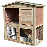 Pawhut Clapier à Lapin Cage à Lapin 2 étages 4 Portes verrouillables Rampe Toit bitûmé Bois de Sapin