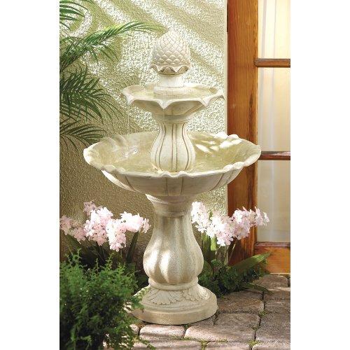 wakatobi Two-Tier Acorn Cascading Stone-Look Water Fountain Garden Yard Outdoor Patio