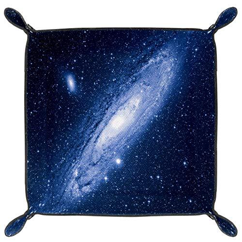 Andromeda Galaxy Würfeltablett, faltbares Tablett aus PU-Leder für RPG Würfel, Gaming und andere Brettspiele, Tischspiele