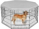 Housse de parc étanche, housse de caisse pour chien à 8 panneaux pour protection solaire extérieure et intérieure Housse de protection anti-évasion, argent