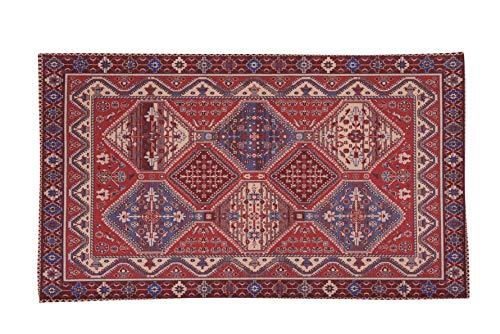 HomeLife Alfombra estilo persa / oriental de 60 x 140 cm | Alfombra de algodón para salón, dormitorio, salón, con fondo antideslizante, con impresión digital de inspiración oriental roja