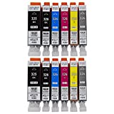 BCI-326+325/6MP 6色セット×2パック 互換インク ICチップ付き 残量表示可 6色セット×2パック(計12個入り)【ICチップ付】 対応機種:PIXUS MG8130 MG6130 MG5230 MG5130 MX883 iP4830 MX883 iX6530 MG8230 MG6230 MG5330 iP4930 [ZAZブランドオリジナル] [Amazon認定FFPパッケージ(H)]