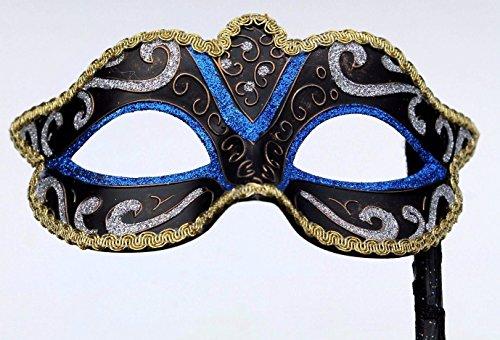 Vénitien Masque de Mascarade Partie des Yeux Masque sur un bâton Bleu, Noir, Argent, Bronze et Or